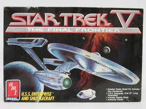 Star Trek V The Final Frontier U.S.S. Enterprise and Shuttlecraft Model Kit Box is torn, but kit is As Is