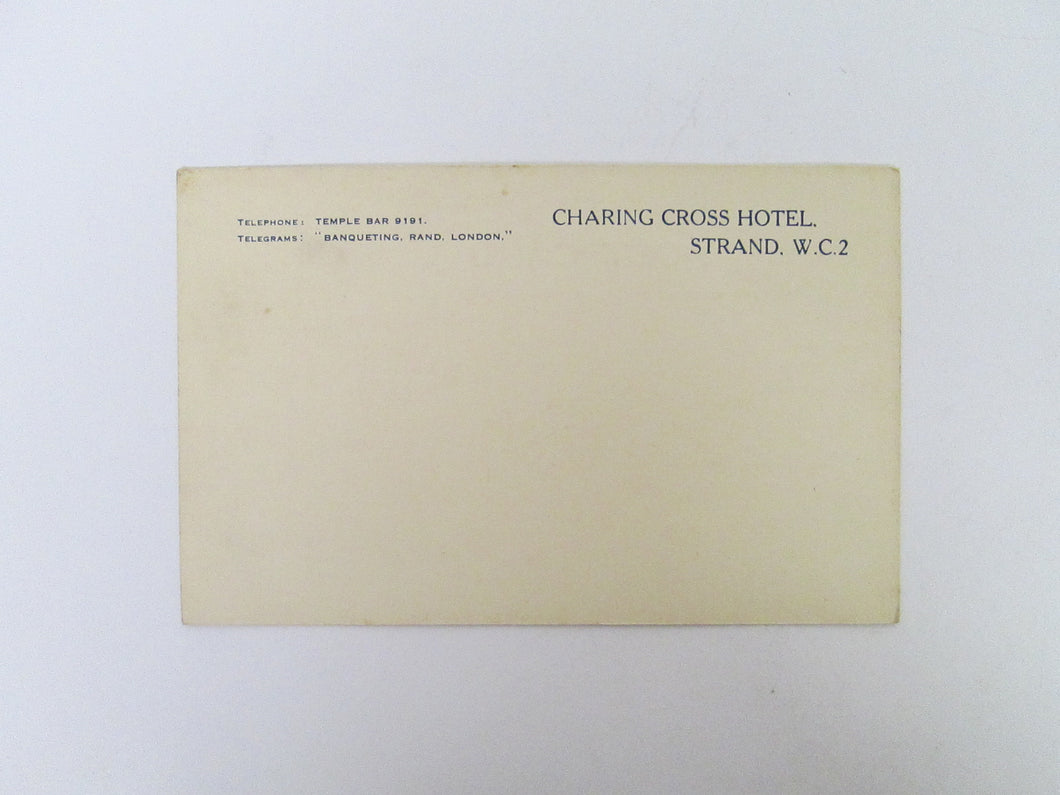 Vintage Post Card Charing Cross Hotel Strand W.C.2 London
