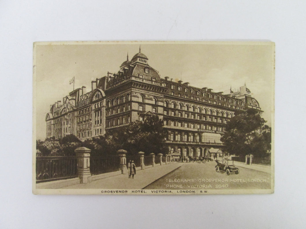Vintage Post Card Grosvenor Hotel Victoria London