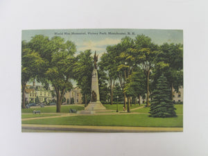Vintage Post Card World War Memorial Victory Park Manchester NH (Writing on back)