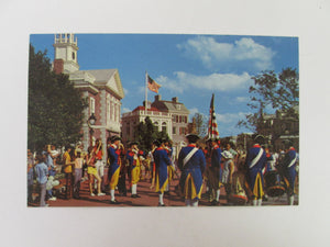 Vintage Disney Post Card 1970s Liberty Square Fife And Drum Corps