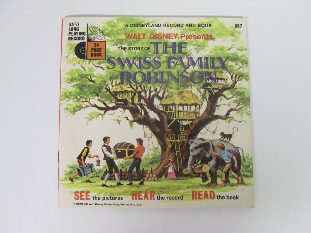 Walt Disney Presents The Story of Swiss Family Robinson A Disneyland Record and Book #357 (1971)