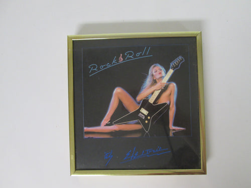 Rock & Roll It's Electric Framed Photo with a Naked Girl behind an Electric Guitar