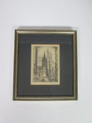 Trinity Church by Nat Lowell A Limited Edition Signed Original Etching Framed