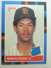 1988 Donruss Rated Rookie Baseball Card #34, Roberto Alomar