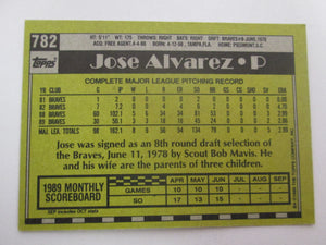 1990 Topps Atlanta Braves Baseball Card #782 Jose Alvarez