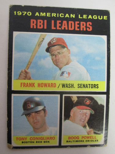 1970 Topps American League RBI Leaders Howard/Conigliaro/Powell Baseball Card #64