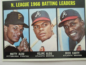 1967 Topps N.League 1966 Batting Leaders Alou/Alou/Carty Baseball Card #240