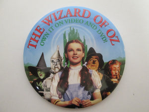 Wizard Of Oz Collectible Pinback Button Own It On Video And DVD Movie Promo 1999