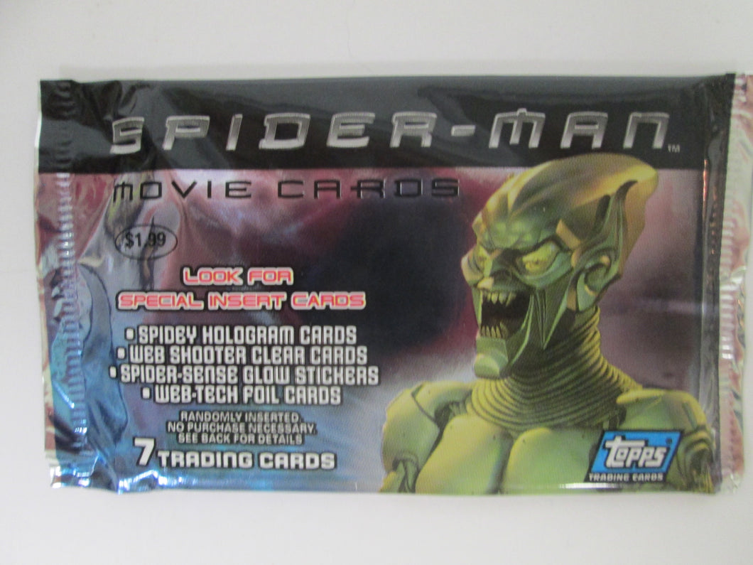 2002 Topps Spider-Man Movie UNOPENED Pack of 7 Trading Cards