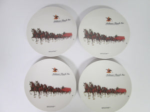 "Anheuser-Busch Set of 4 8"" Plastic Plates Clydesdale Horses w/ Budweiser Wagon"