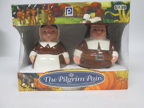 The Pilgrim Pair Salt & Pepper Shakers Publix 2006 with Box