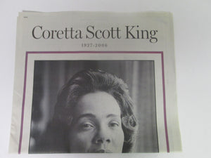 Coretta Scott King 1927-2006 Atlanta Journal Constitution Commerative Newspaper Feb 7 2006