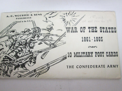 War of the States 1861-1865 10 Military Post Cards The Confederate Army Series A Pack only has 9
