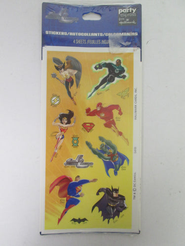 Justice League Stickers 4 Sheets Hallmark