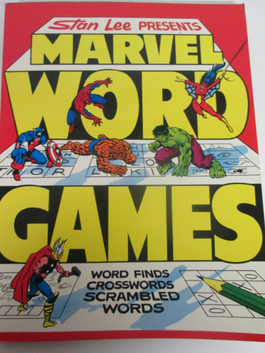 Stan Lee Presents Marvel Word Games Word Finds Crossword scrambled Words 1979 PB
