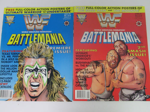 WWF Battlemania Comic Magazine Set #1&2 1991