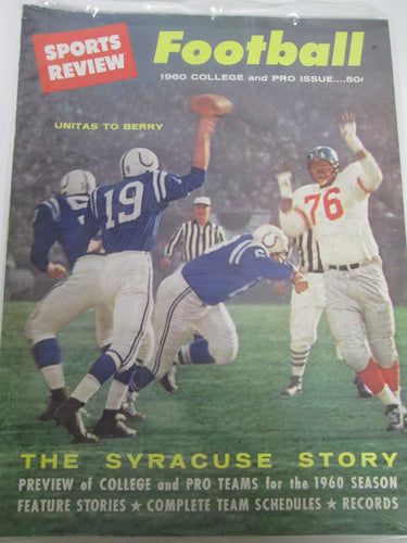Sports Review Magazine Football 1960 College and Pro Issue The Syracuse Story