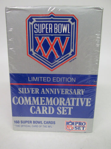 Super Bowl XXV Limited Edition Silver Anniversary Commemorative Card Set Sealed 160 Card Set