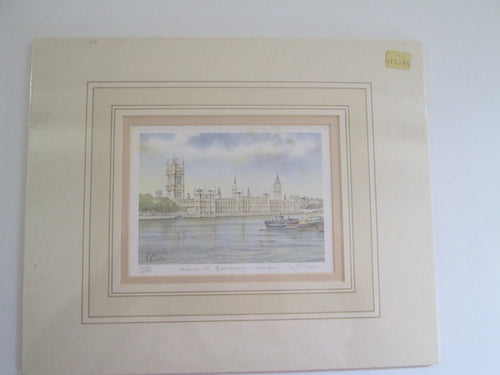 Kenneth Burton Counties of Great Britain Watercolour Print Houses of Parliament London 401/600 Signed