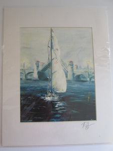 Peter O'Neill Sailboat Print Signed on Mat