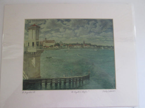 Charles Dickinson St. Augustine Skyline Print Signed on Mat