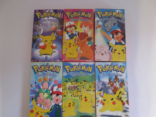 Pokemon Set of 6 VHS Cartoons 1997,1998