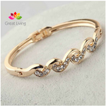 Rose Gold Color Clear Austrian Crystal Twist Bracelets