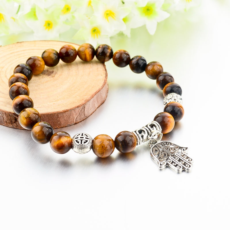 Tiger Eye Natural Stone Hand Pendant Bracelets