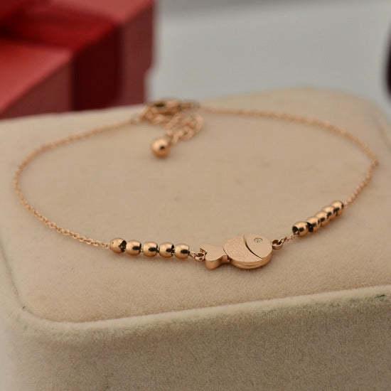 Cute Fish Anklet in Rose Gold Color