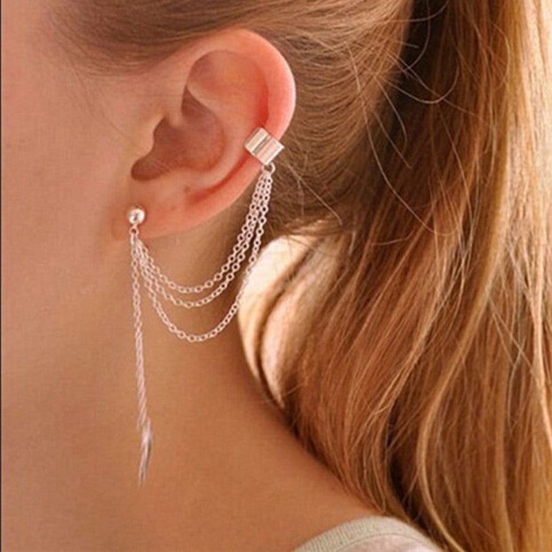 Chain Tassel Leaf Clip Ear Cuff Earring