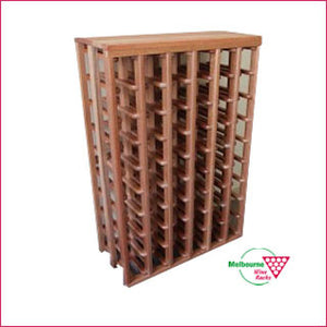 Hardwood 54 bottle wine rack with flat top.