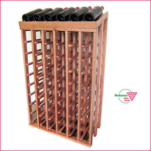 Hardwood 60 bottle wine rack with inclined display top.