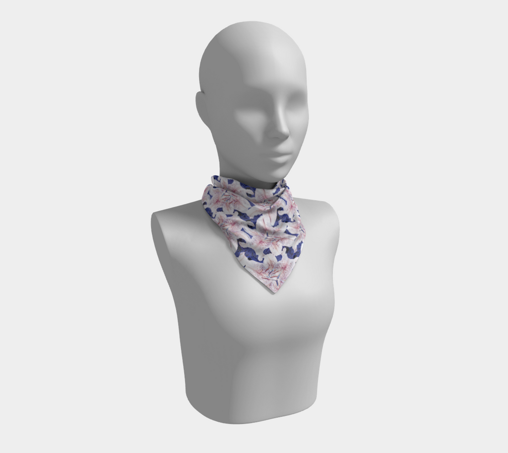 SHS Boutique Lillies on Blue Silk Scarf - Square