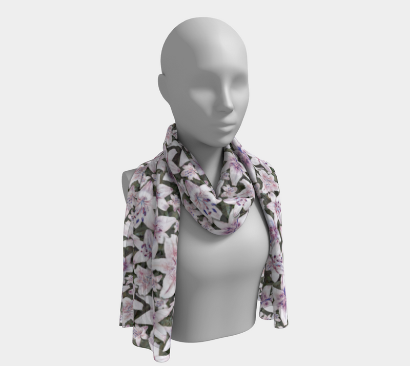 SHS Boutique Soft Lillies Silk Scarf - long