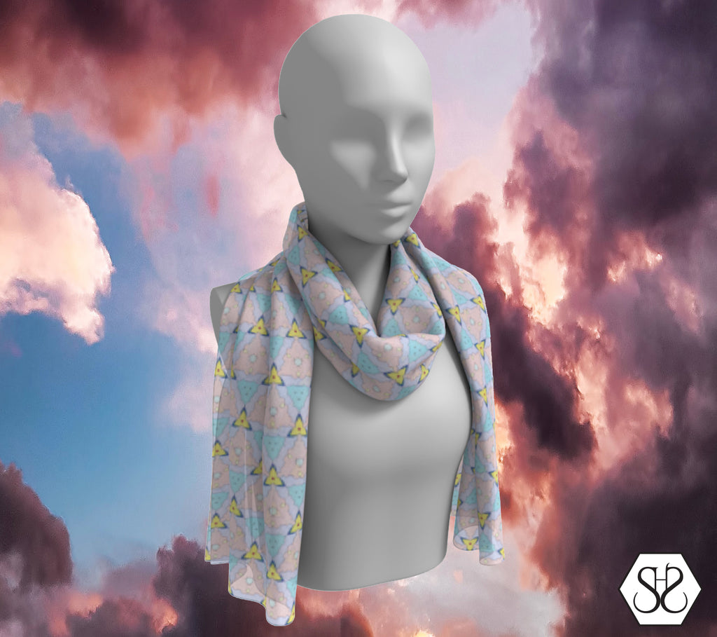 SHS Boutique Dreamy Triangles Silk Scarf - Long