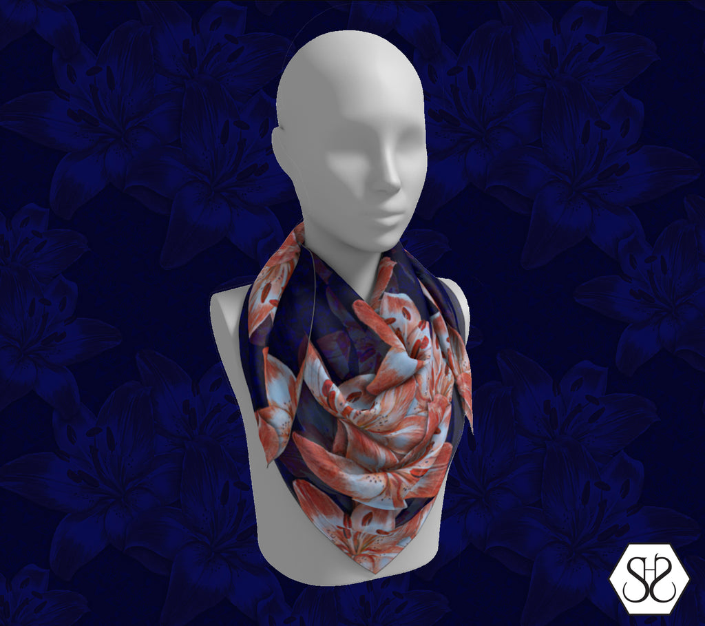 SHS Boutique Lillies Silk Scarf - Square