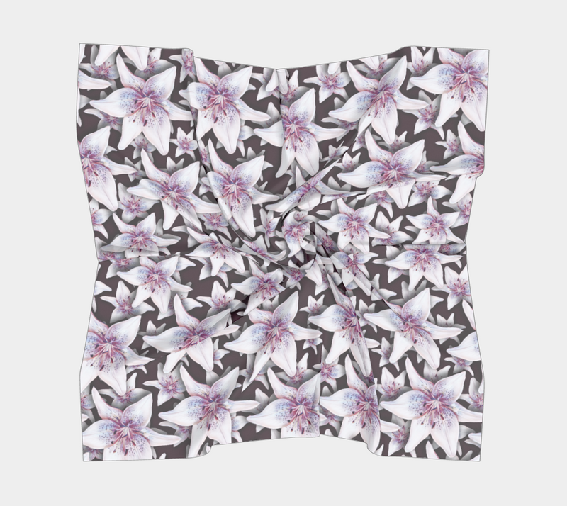 SHS Boutique Layered Lillies Silk Scarf - Square