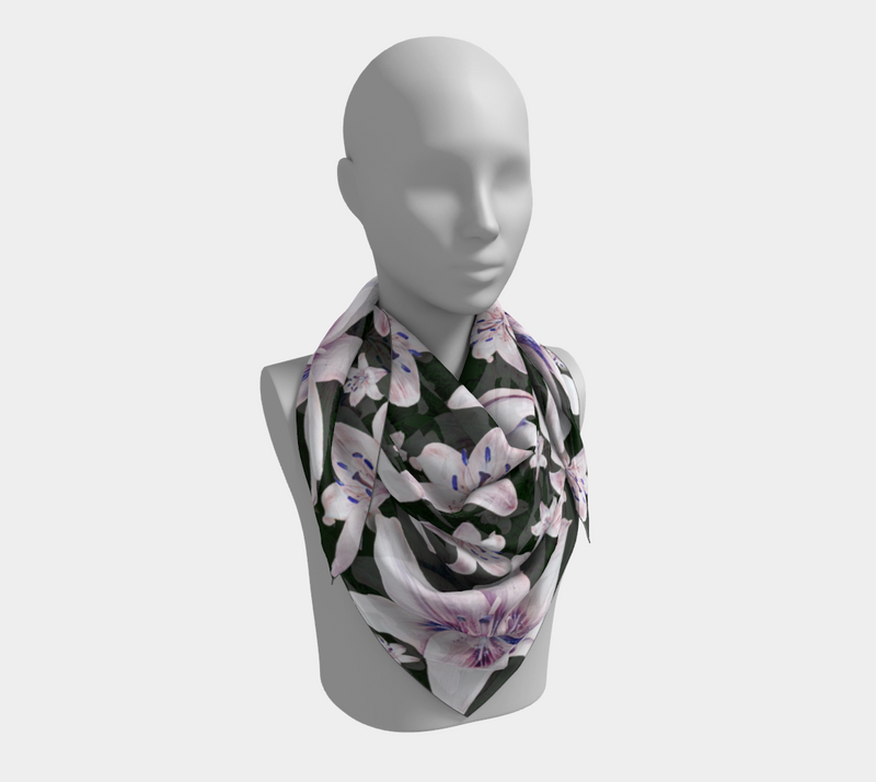 SHS Boutique Lillies on Green Silk Scarf - Square