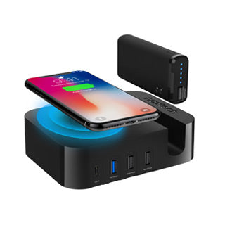 Naztech 50W Ultimate Power Station AFC USB-C Wall Charger w/ Qi + 4000 mAh Portable Power Bank