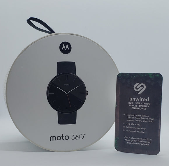 Motorola Moto 360 2nd Gen, Black Leather