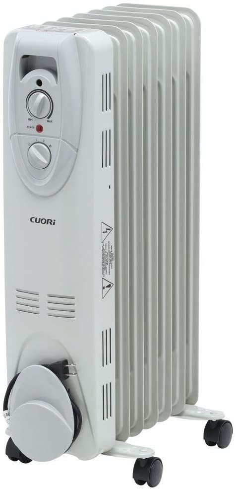 Cuori 1500-Watt Electric Oil-Filled Radiant Portable Heater - Grey