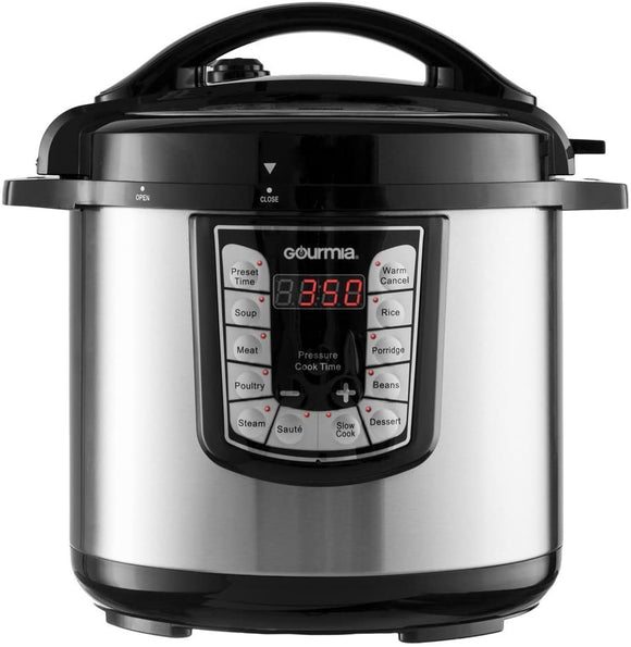 Gourmia GPC800 ExpressPot Electric Digital Multipurpose Pressure Cooker, 13 Cooking Modes, 8 Quart Stainless Steel, with Steam Rack, 1200 Watts