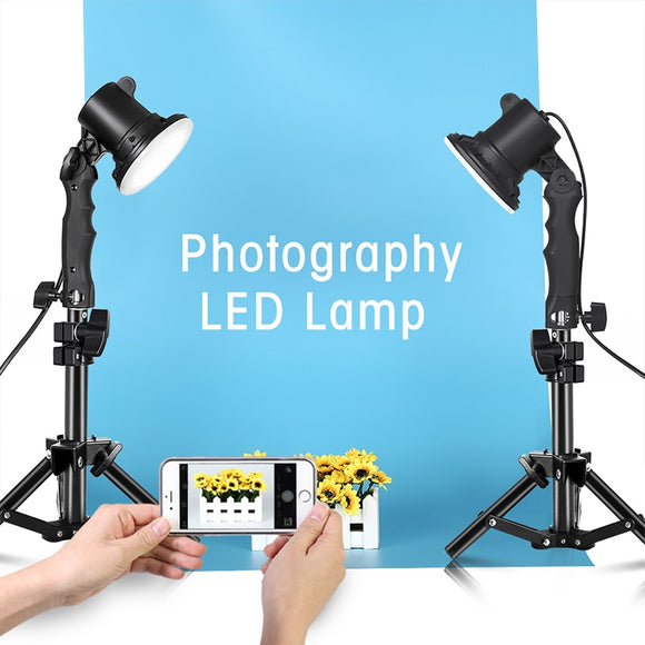 Photography 12W LED Lamp Light Bulb Handle Table Lighting Box With 2pcs 37CM Light Tripod Stand for Photo Studio Portrait Phone - Unwired Solutions Inc