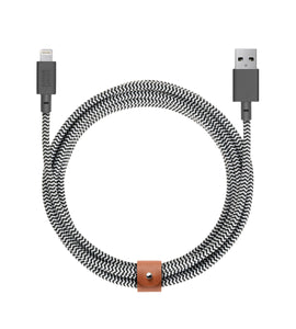 Charge/Sync Belt Cable XL Lightning 10ft. Zebra