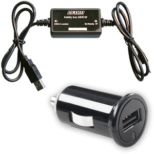 Car Charger 1A & Safety Box Black - Unwired Solutions Inc