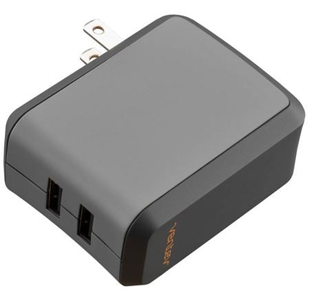 Wall Charger Dual USB 4.8 A Black - Unwired Solutions Inc