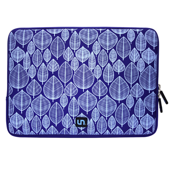 Neoprene Sleeve MacBook 15 inch Little Leaves Blue - Unwired