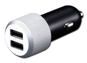 Dual USB Highway Car Charger Micro USB 2A Silver