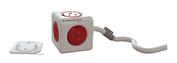 PowerCube Extended 5 outlets 5' cord Red - Unwired